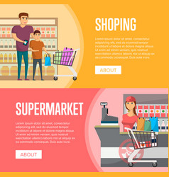 family shopping at supermarket banners vector image