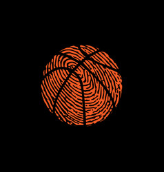 Fingerprint basketball symbol black background vector
