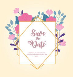 flowers wedding save date ornate frame vector image