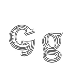 Font tattoo engraving letter G vector image vector image