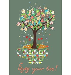 funny card with tea cup and flowers on tree vector image