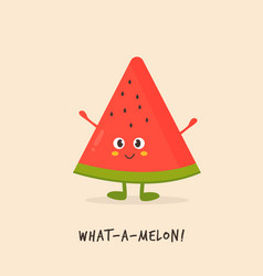 funny cute watermelon character design vector image