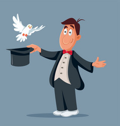 funny magician and white pigeon flying out hat vector image