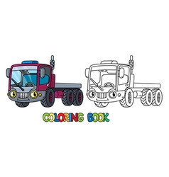 Funny small truck with eyes coloring book vector