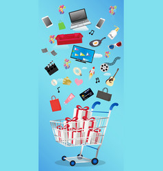general object floating over gift box on a cart vector image