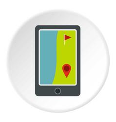 Golf course on a tablet screen icon circle vector