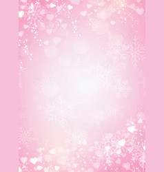 Gradient pink background with snow snowflake and vector