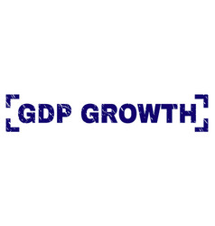 Grunge textured gdp growth stamp seal between vector