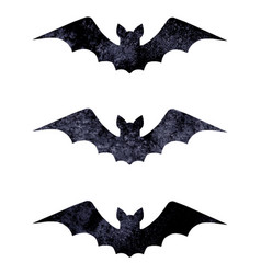 Halloween silhouettes of watercolor terrible bats vector