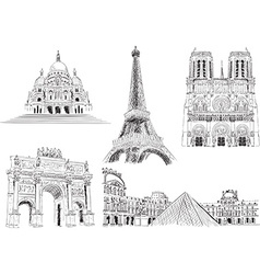Hand Drawn Paris Sightseeing Icons vector