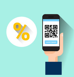 hand hold smart phone scanning qr code with vector image