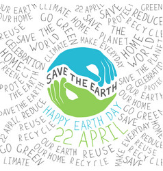 happy earth earth smile happy earth day 22 vector image