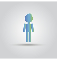 Icon blue stick figure man male vector