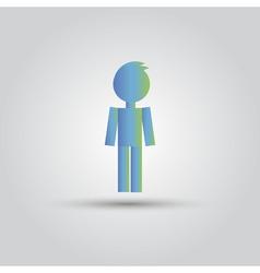 Icon blue stick figure man male vector