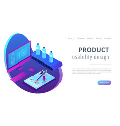 Industrial design isometric 3d landing page vector