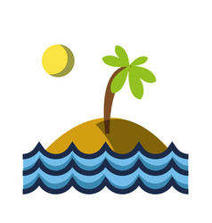 island with palm tree with sun and waves ocean vector image
