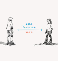 keep social distance covid-19 banner for children vector image