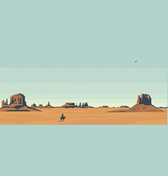 Landscape with western prairies and cowboy vector