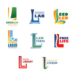 Letter l icons for brand company name vector