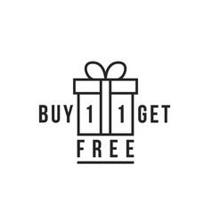 Linear gift like buy 1 get one free vector