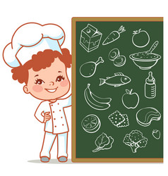 Little girl as chef vector