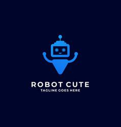 Logo robot cute line art style vector