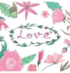 Love Lettering in Summer Floral Frame vector image