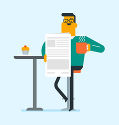 man reading a newspaper and drinking coffee vector image