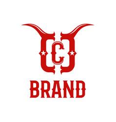 modern bull horns and letter c logo vector image