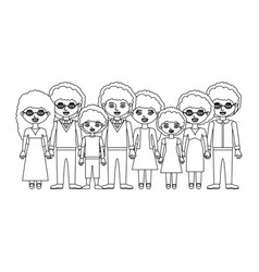 Monochrome silhouette of family group with curly vector