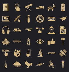 network technology icons set simple style vector image