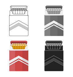 Pack of cigarettes icon in cartoon style isolated vector