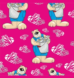 Pattern with bears on a pink background with vector