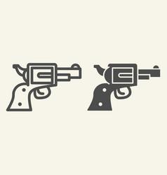 pistol line and glyph icon revolver vector image