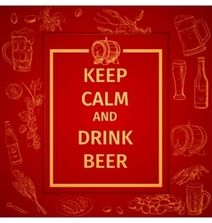 Poster of Keep Calm And Drink Beer and hand vector image