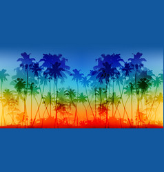 rainbow colors palms silhouettes vintage vector image