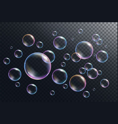 realistic soap bubbles vector image