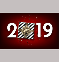 red 2019 happy new year card with top view gift vector image
