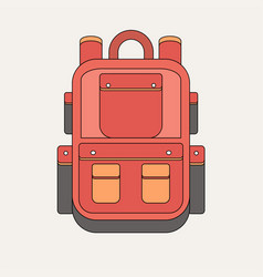 red backpack isolated on white background flat vector image