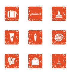 Rich vacationer icons set grunge style vector