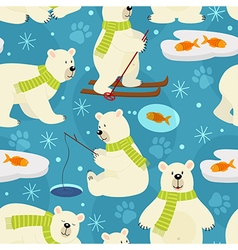 Seamless pattern polar bear vector