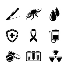 set cancer icons with - shield virus cell vector image