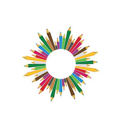 Set colored pencils on white background vector