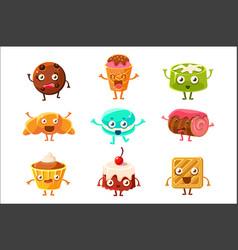 Set funny dessert characters - croissant vector