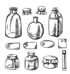 Set glass bottles flasks and labels pencil vector