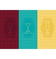 Set linear alcoholic ornament card vector