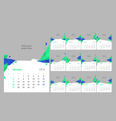 set of 12 calendar pages design print vector image