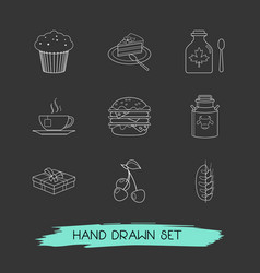 set of dessert icons line style symbols with piece vector image