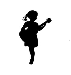 Silhouette girl music playing guitar vector