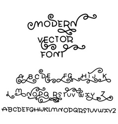 Simple double alphabet modern curly font vector